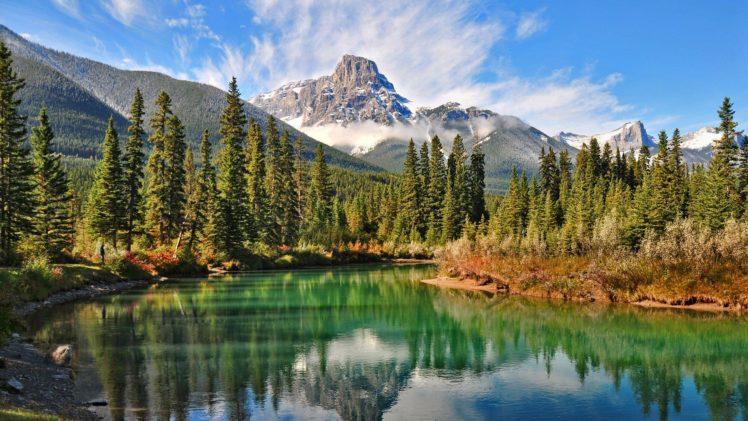 mountain, Nature, Landscape, Cloud, Lake, Tree, Reflection, River, Rock, Hd, 4k, Ultrahd, Wallpaper HD Wallpaper Desktop Background