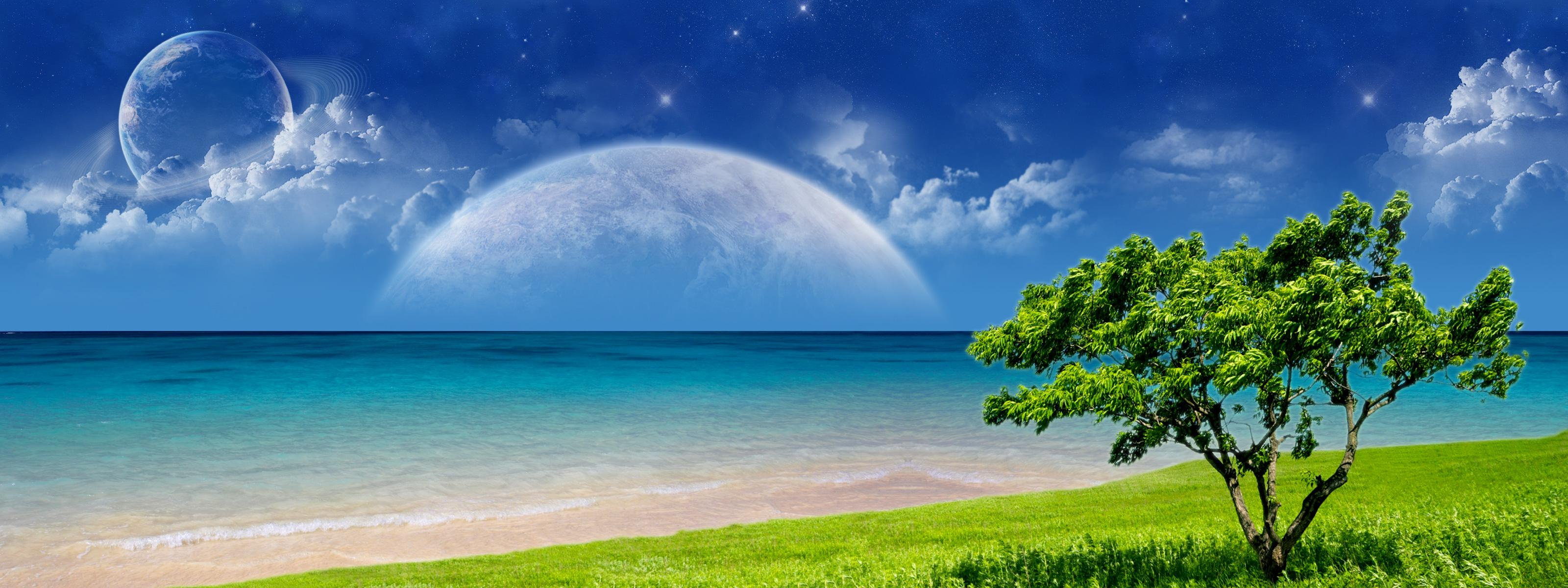 multi, Monitor, Dual, Screen, Cg, Digital, Art, Manip, Ocean, Sea, Sky, Planets, Sci, Fi, Mood, Clouds Wallpaper