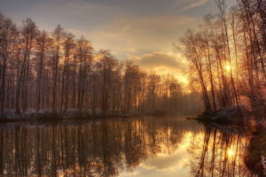 landscapes, Trees, Bank, Reflection, Water, Sky, Clouds, Sunset, Sunrise, Winter, Autumn, Fall