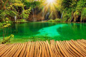 croatia, Parks, Lake, Waterfall, Plitvice, Rays, Of, Light, Nature, Garden