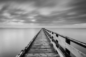 lake, Bridge, Fog, Ocean, Sea, Black, White, Monochrome, Sky, Clouds, Pier, Architecture
