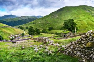 nature, Landscapes, Trees, Hills, Mountains, Stones, Houses, Grass, Green, Clouds