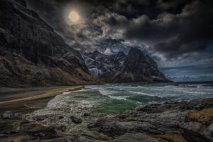 coastl, Kvalvika, Sea, Norway, Sea, Lofoten, Islands, Mountain, Rock, Landscape, Shore, Ocean