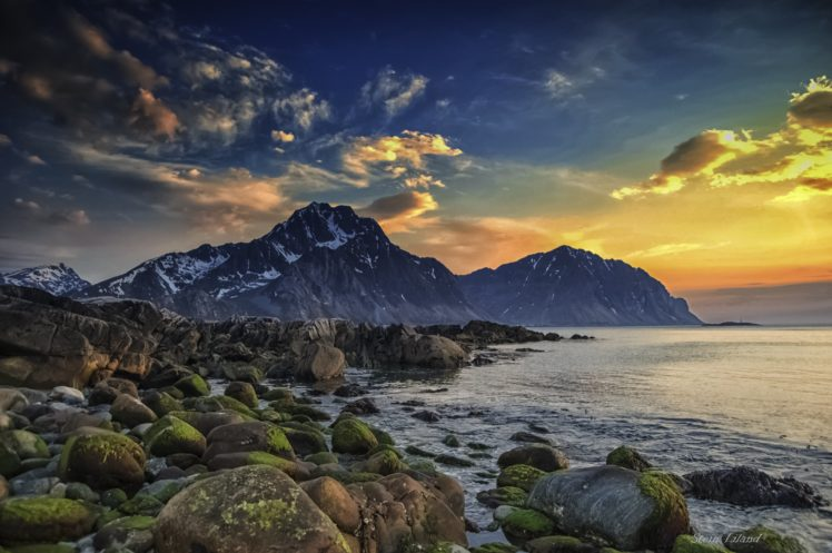 spring, Sea, Sky, Arctic, Scandinavia, Norway, Lofoten, Islands, Mountain, Boulders, Seashore HD Wallpaper Desktop Background