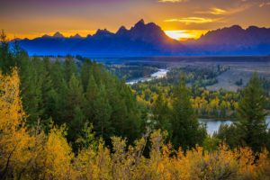 autumn, Forest, Landscape, Sunset, Grand, Teton, National, Park, The, Teton, Range, Snake, River