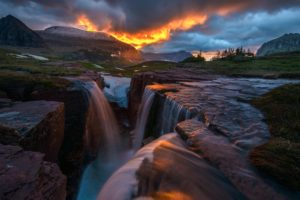 glow, Nature, Sunrise, Triple, Falls, Montana, Glacier, National, Park, Waterfall, Storm, Clouds, Waterfall, River