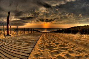 beach, Sand, Road, Traces, Fence, Sun, Evening, Sky, Decline, Clouds