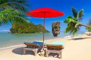 thailand, Tropics, Coast, Crag, Sand, Sunlounger, Umbrella, Palma, Phuket, Nature