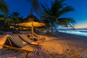 mauritius, Tropics, Coast, Evening, Sand, Palma, Street, Lights, Sunlounger, Nature