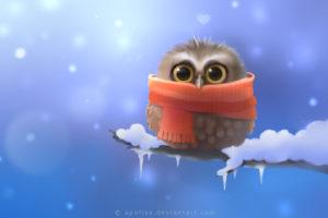 owl, Bird, Snow, Winter, Drawing, Scarf, Cartoon, Cute, Eyes, Pov