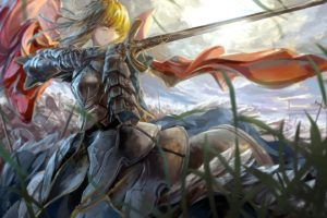 blondes, Fate stay, Night, Knights, Grass, Weapons, Green, Eyes, Armor, Short, Hair, Type moon, Warriors, Capes, Saber, Fate zero, Skyscapes, Swords, Fate, Series