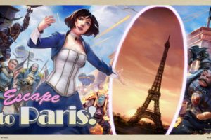 bioshock, Infinite, Steampunk, Elizabeth, Paris, Eiffel, Tower, Post, Card