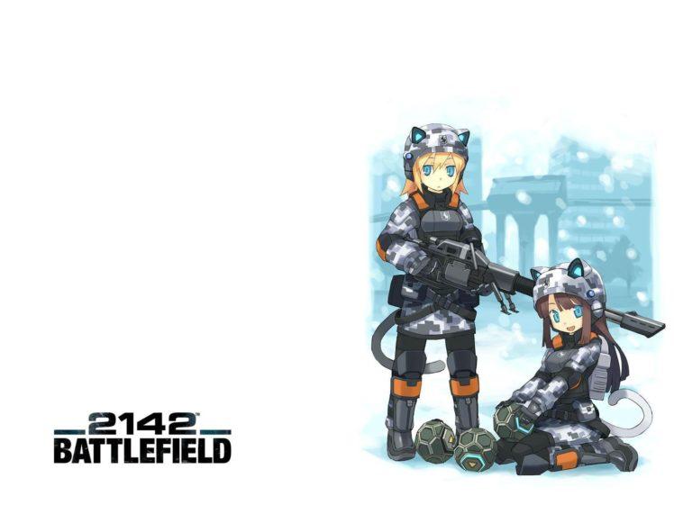 brunettes, Blondes, Video, Games, Battlefield, Blue, Eyes, Weapons, Animal, Ears, Battlefield, 2142, Simple, Background, Anime, Girls HD Wallpaper Desktop Background
