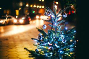 tree, Fir, Tree, Garlands, Branches, Balls, Christmas, Tree, Toys, Lights, Bokeh, City, Night, Street, Road, Cars, Pavement, Winter, Holidays, New