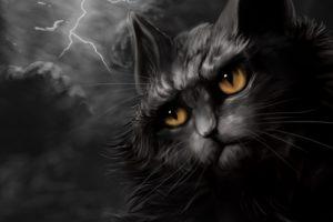 cats, Painting, Art, Night, Lightning, Animals, Wallpapers