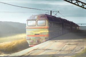 original, Art, Station, Train, Morning, Trains
