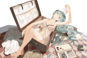 vocaloid, Barefoot, Dress, Hatsune, Miku, Long, Hair, Navel, Panties, Striped, Panties, Throtem, Underwear, Vocaloid