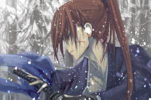 rurouni, Kenshin, Blood, Brown, Hair, Himura, Kenshin, Japanese, Clothes, Katana, Kawanakajima, Long, Hair, Ponytail, Rurouni, Kenshin, Scar, Snow, Sword, Weapon