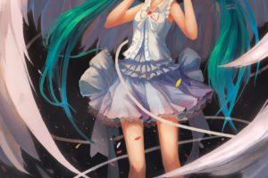 headphones, Water, Wings, Vocaloid, Dress, Flowers, Hatsune, Miku, Birds, Skirts, Long, Hair, Green, Eyes, Barefoot, Green, Hair, Twintails, Bows, Flower, Petals, Aqua, Hair, White, Dress, Vertical, Anime, Girls