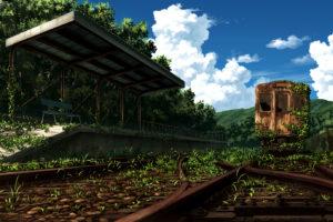 original, Clouds, Grass, Landscape, Nobody, Original, Ruins, Sakais3211, Scenic, Sky, Train