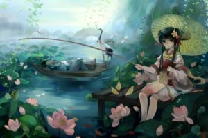 original, Animal, Bird, Black, Hair, Boat, Bow, Braids, Flowers, Frog, Long, Hair, Original, Petals, Ribbons, Sleeping, Umbrella, Water