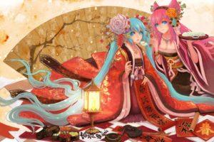 vocaloid, Hatsune, Miku, Megurine, Luka, Long, Hair, Pink, Hair, Twintails, Aqua, Eyes, Aqua, Hair, Anime, Girls, Hair, Ornaments