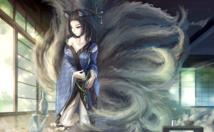animal, Ears, Black, Hair, Blue, Eyes, Foxgirl, Japanese, Clothes, Kikivi, Kimono, Long, Hair, Multiple, Tails, Original, Tail HD Wallpaper Desktop Background