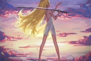 bakemonogatari, Barefoot, Blonde, Hair, Clouds, Dress, Katana, Long, Hair, Maredoro, Oshino, Shinobu, Petals, Sky, Sunset, Sword, Weapon, Yellow, Eyes