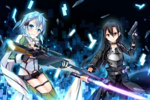 grandia,  artist , Gun, Gun, Gale, Online, Kirigaya, Kazuto, Shinon,  sao , Sword, Sword, Art, Online, Weapon