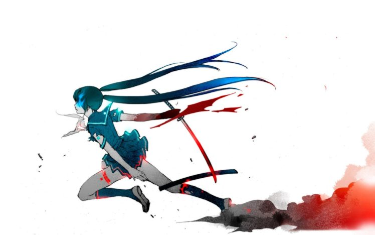 vocaloid hatsune, Anime, Girl, Character, Blood, Sword, Katana HD Wallpaper Desktop Background