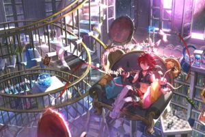 all, Male, Book, Bunny, Elsword, Elsword,  character , Magic, Male, Moon, Navel, Pink, Eyes, Red, Hair, Scorpion5050, Short, Hair, Stairs, Teddy, Bear