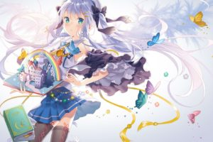 aqua, Eyes, Blue, Hair, Book, Bow, Butterfly, Hat, Long, Hair, Original, Rie,  reverie , Skirt, Skirt, Lift, Thighhighs