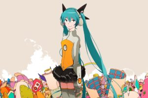 hatsune, Miku, Vocaloid, Anime, Girl, Music, Megurine, Luka, Video, Game, Beauty, Beautiful, Lovely, Sweet, Cute, Humanoid, Green, Hair, Tail, Long, Character