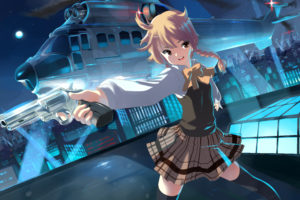 blonde, Hair, Braids, Brown, Eyes, City, Gun, Moon, Night, Original, Rinz, Seifuku, Sky, Stars, Thighhighs, Weapon, Zettai, Ryouiki