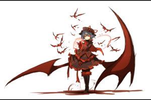 blue, Hair, Hat, Red, Eyes, Remilia, Scarlet, Shiroganeusagi, Short, Hair, Touhou, Vampire, Wings