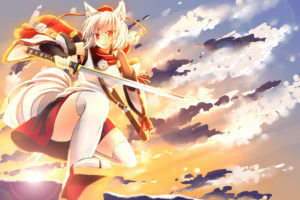 animal, Ears, Clouds, Hat, Inubashiri, Momiji, Japanese, Clothes, Red, Eyes, Scarf, Sky, Sword, Tail, Thighhighs, Touhou, Weapon, White, Hair