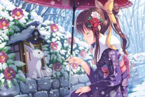 anime, Winter, Snow, Animal, Rabbit, Girl, Beauty, Long, Hair, Cute