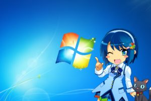 7, Animal, Blue, Cat, Madobe, Nanami, Microsoft, Os tan, Windows