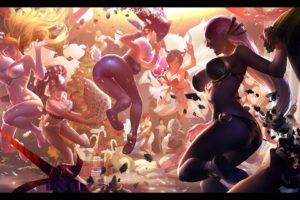 akali, Animal, Ears, Ass, Bikini, Black, Hair, Blonde, Hair, Breasts, Bunnygirl, Cleavage, Feihong, Chen, Group, Janna, Nidalee, Realistic, Soraka, Swimsuit, Teemo, Zyra