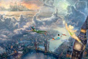clouds, Disney, Company, Movies, Flying, Architecture, Children, Pirates, London, Big, Ben, Tinkerbell, Tower, Bridge, Peter, Pan, Thomas, Kinkade, Fairy, Tales, Captain, Hook, Neverland