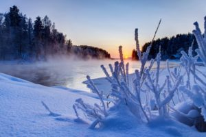 nature, White, Snow, River, Sunset, Winter, Sky, Clouds