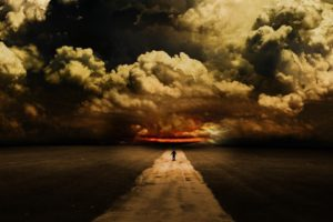 sky, Clouds, Art, Road, Abdelrahman, Man