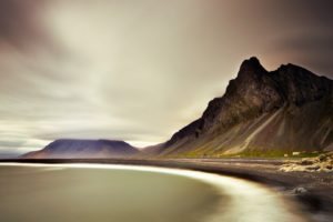 nature, Landscape, Mountains, Clouds, Iceland, Fjord, Sea, Coast, Long, Exposure