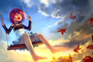 clouds, Leaves, Lolicon