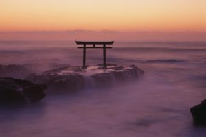 water, Clouds, Landscapes, Nature, Fog, Mist, Torii, Skyscapes