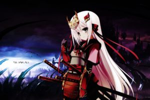 dark, Katana, Samurai, Long, Hair, Ribbons, Weapons, Armor, Pink, Hair, Anime, Girls, Swords, Hair, Ornaments