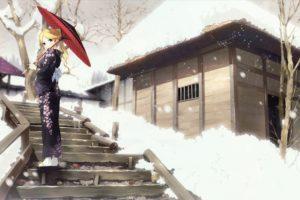 blondes, Sayonara, Zetsubou, Sensei, Winter, Snow, Trees, Blue, Eyes, Houses, Long, Hair, Kimono, Stairways, Sandals, Ponytails, Umbrellas, Japanese, Clothes, Anime, Girls, Kimura, Kaere