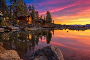 landscape, Lake, House, Rocks, Sunset, Sky, Clouds, Lake, Tahoe, United, States