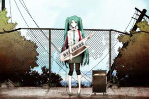 music, Vocaloid, Hatsune, Miku, Tie, Long, Hair, Twintails, Aqua, Hair, Anime, Girls