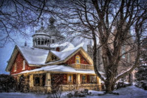 houses, Trees, Snow, Fantasy, Style, Winter, Christmas, House, Building, Architecture